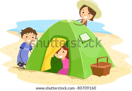 Illustration of a Family Building a Tent Together
