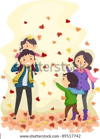 Illustration of a Family Enjoying an Autumn Day