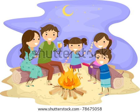Illustration of a Family Gathered Around a Bonfire