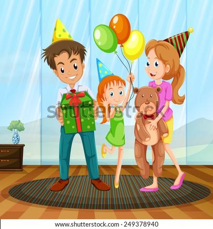 illustration of a family having