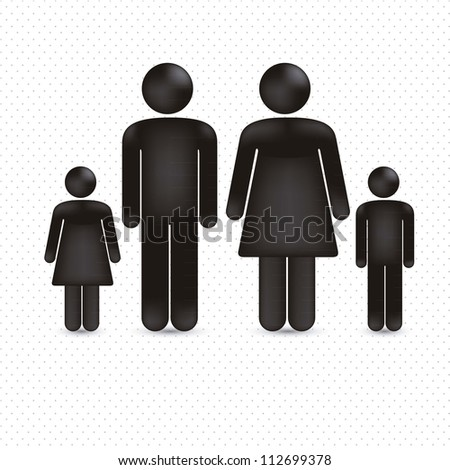 illustration of a family in 3d, vector illustration