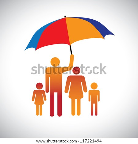 Illustration of a family of four with umbrella. The graphic represents father protecting the family of mother & children by covering with umbrella. Also represents concept of caring,love, bonding, etc - stock vector