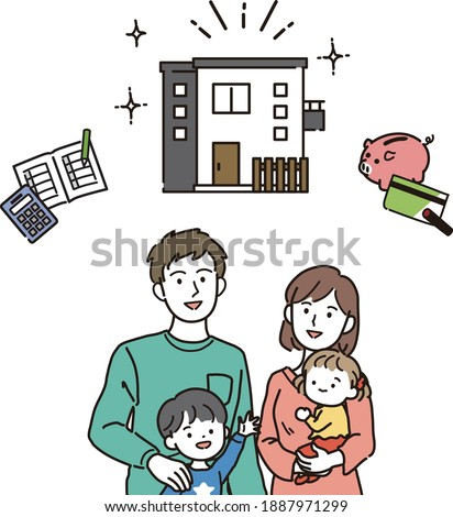 Illustration of a family thinking about buying a home
