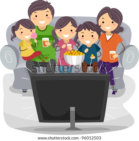 Illustration of a Family Watching a TV Show Together