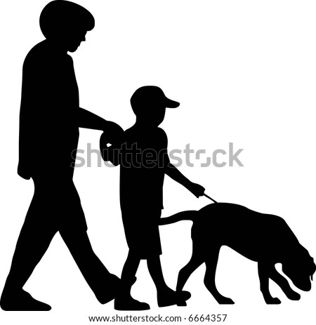 illustration of a family with dog