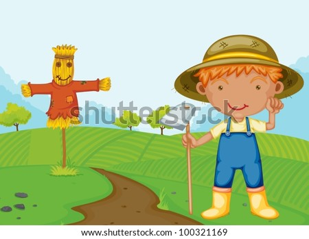 Illustration of a farm boy