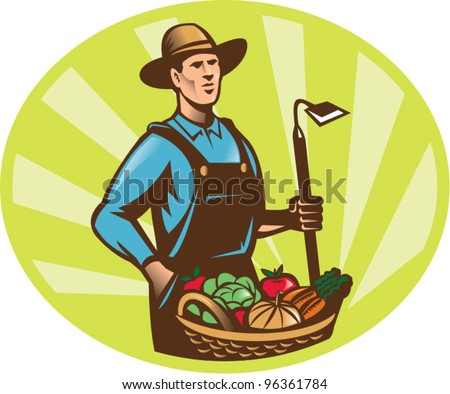 Illustration of a farmer holding a garden hoe wearing hat with basket full of vegetable fruit crop harvest done in retro woodcut style.