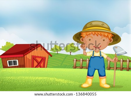 Illustration of a farmer holding a hoe