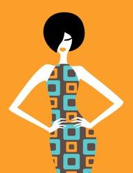 Illustration of a fashion model posing in an elegant retro dress.