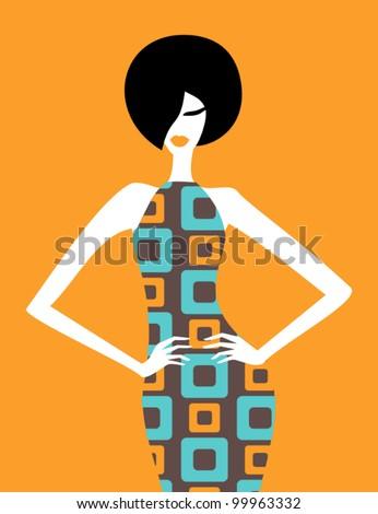 Illustration of a fashion model posing in an elegant retro dress. - stock vector