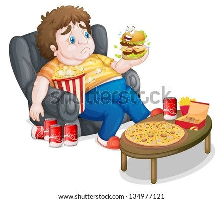 Illustration of a fat boy in front of a lots of foods on a white background