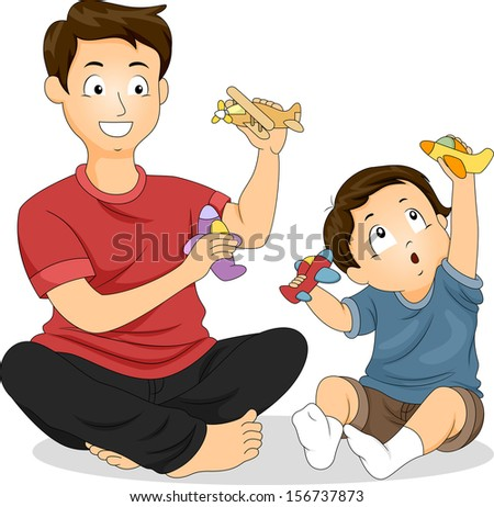 illustration of a father and
