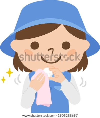 Illustration of a female caddy working on a golf course. A woman who cleans golf balls with a towel. Foto stock ©