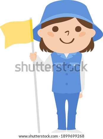 Illustration of a female caddy working on a golf course. A young woman holding a golf flag stick. Foto stock ©