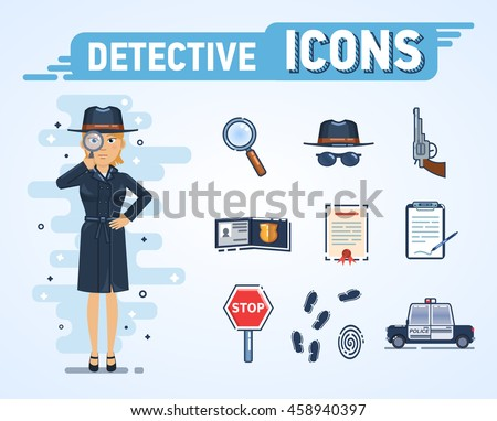 Illustration of a female detective with different icons. Magnifying glass, detective hat, badge, stop sign, fingerprints, gun, paper, document, police car. Flat style vector illustration
