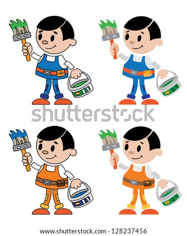 illustration of a figures of house painter