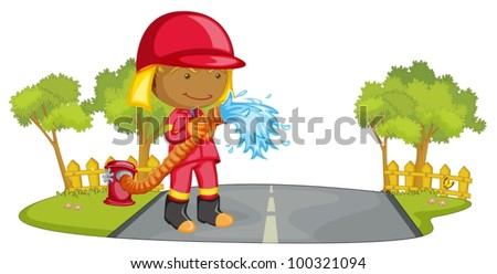 Illustration of a fire fighter