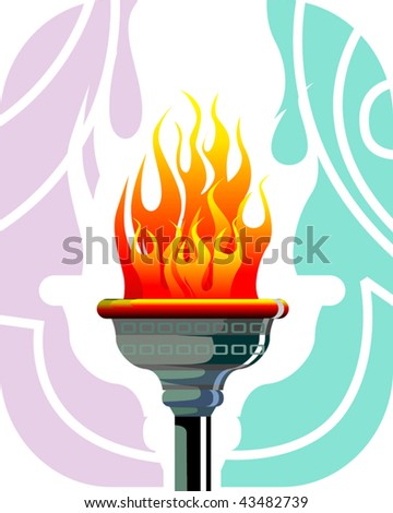 Illustration of a fire torch with flames