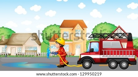 Illustration of a fireman holding a hose with a fire truck at the back