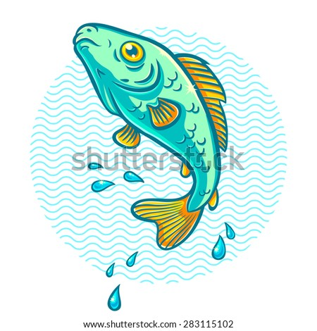 illustration of a fish jumping