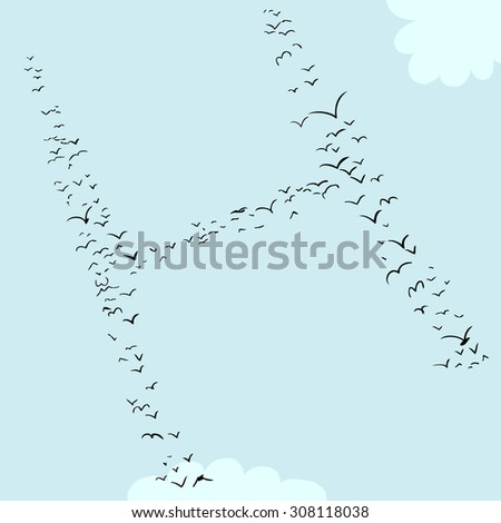 illustration of a flock of