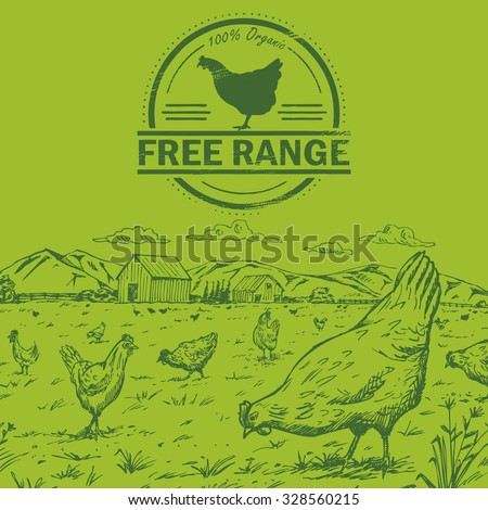 Illustration of a flock of pastured chickens with free range chicken stamp