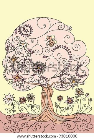 illustration of a flowering tree