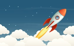 Illustration of a flying rocket in the starry sky. EPS10 vector background.