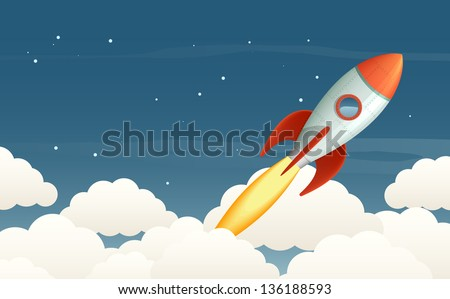 illustration of a flying rocket