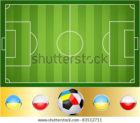 Illustration of a football field. Ball to the flags of Ukraine and Poland. Vector.