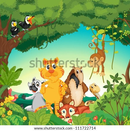Illustration of a forest scene with different animals #111722714