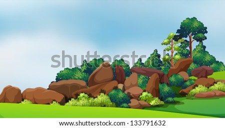 illustration of a forest with