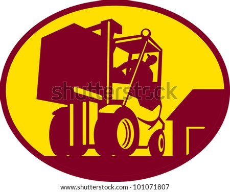 Illustration of a forklift operator operating forklift truck lifting box container with factory in background set inside circle done in retro woodcut style viewed from low angle.