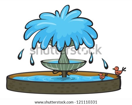 illustration of a fountain on a white background - stock vector