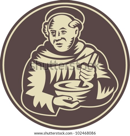 Illustration of a friar monk cook with mixing bowl done in retro woodcut style. Foto stock ©