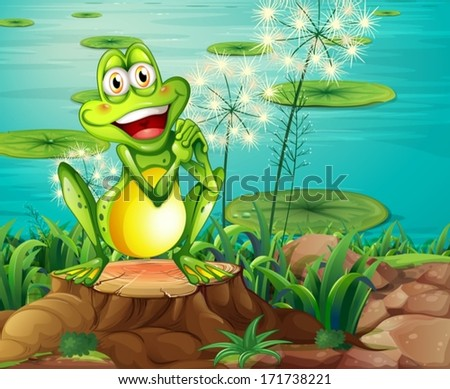 illustration of a frog above