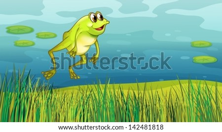 illustration of a frog jumping