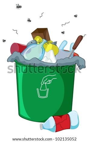 Illustration of a full rubbish bin