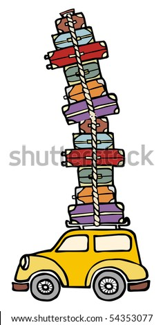 Illustration of a funny car with a lot of luggage on the roof. Vector file available. - stock vector