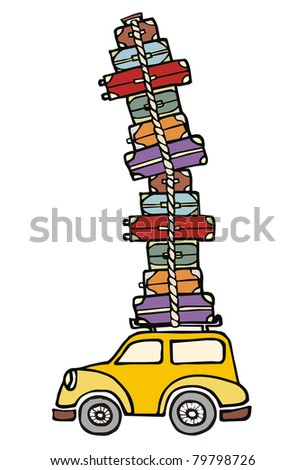 Illustration of a funny car with a lot of luggage on the roof. Vector file available.