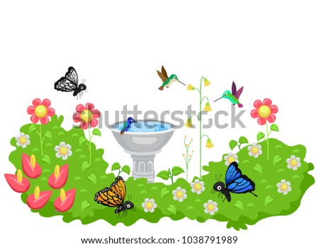Illustration of a Garden Full of Flowers with Bird Bath and Butterflies and Hummingbird