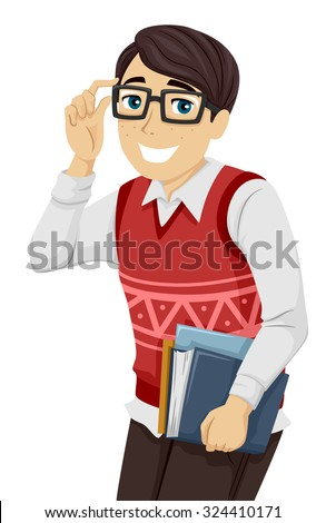 illustration of a geeky teenage