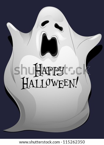 Illustration of a Ghost with Halloween Greetings Written Over it