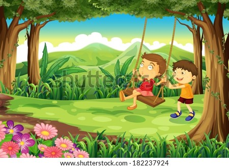 Illustration of a girl and a boy playing at the jungle