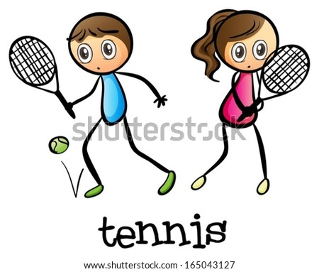 stock-vector-illustration-of-a-girl-and-a-boy-playing-tennis-on-a-white-background