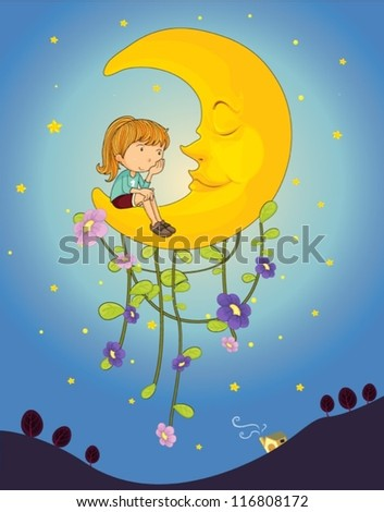 illustration of a girl and a moon in night sky
