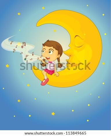 illustration of a girl and moon in night sky