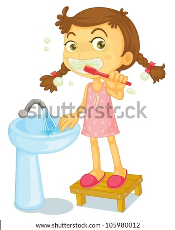 illustration of a girl brushing teeth on a white background