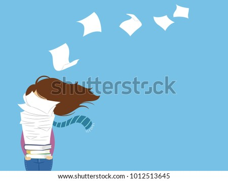 Illustration of a Girl Carrying a Big Pile of Paper and Books with Top Paper Flying Away