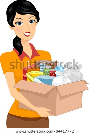 Illustration of a Girl Carrying a Donation Box Full of Goods